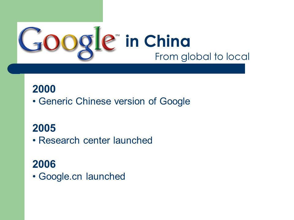 in China From global to local 2000 Generic Chinese version of Google 2005 Research center launched 2006 Google.cn launched
