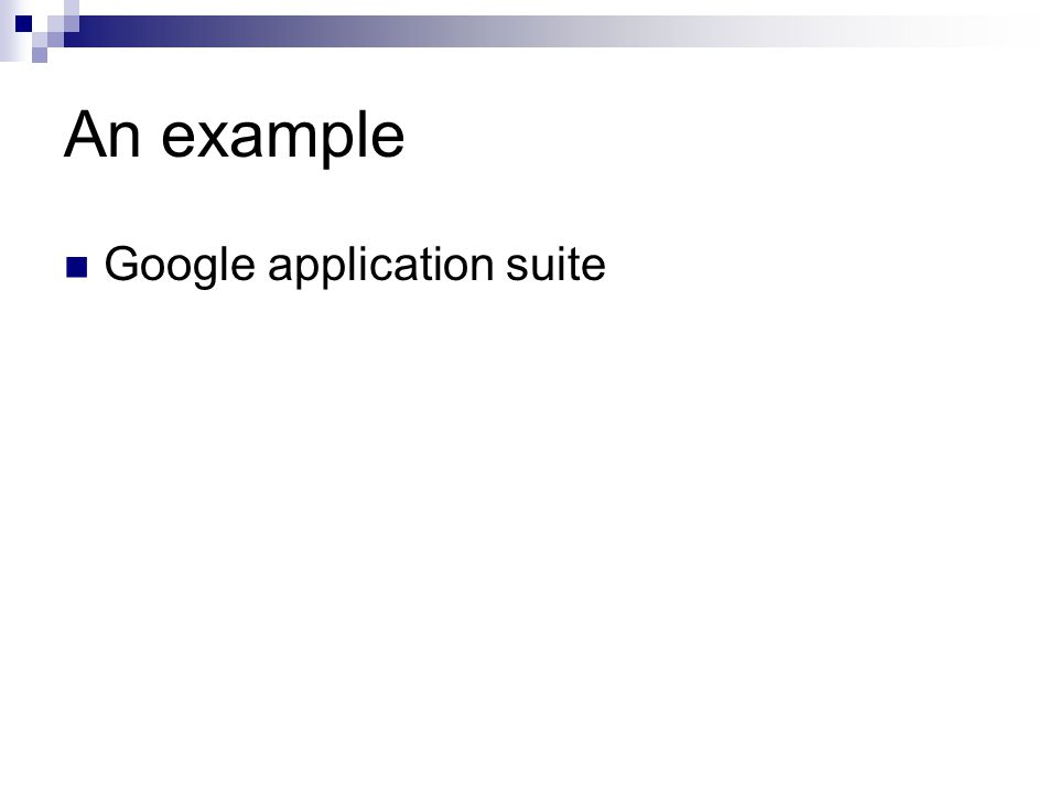 An example Google application suite