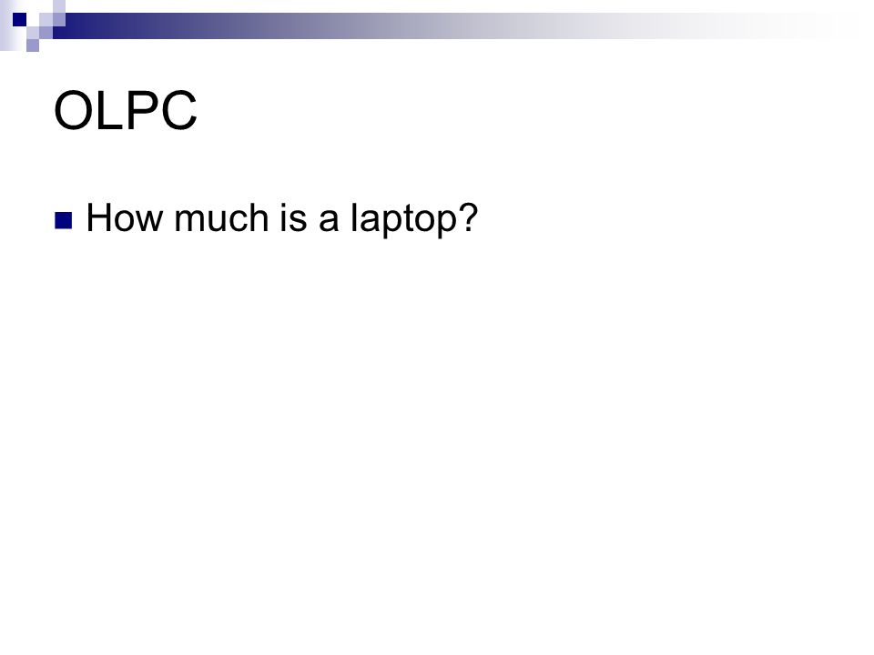 OLPC How much is a laptop