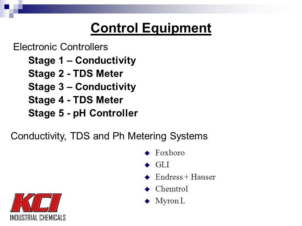 Control Equipment Electronic Controllers Stage 1 – Conductivity Stage 2 - TDS Meter Stage 3 – Conductivity Stage 4 - TDS Meter Stage 5 - pH Controller Conductivity, TDS and Ph Metering Systems u Foxboro u GLI u Endress + Hauser u Chemtrol u Myron L