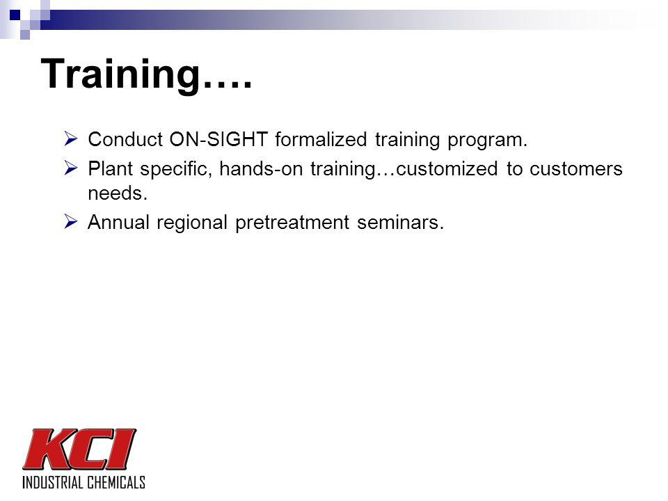 Training….  Conduct ON-SIGHT formalized training program.