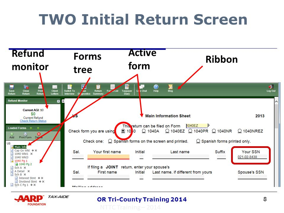 9 OR Tri-County Training 2014 Color Codes  Red underline – required entry  Green underline – calculated field (link to the underlying form)  Black underline – OK to enter data NTTC Training – 2014