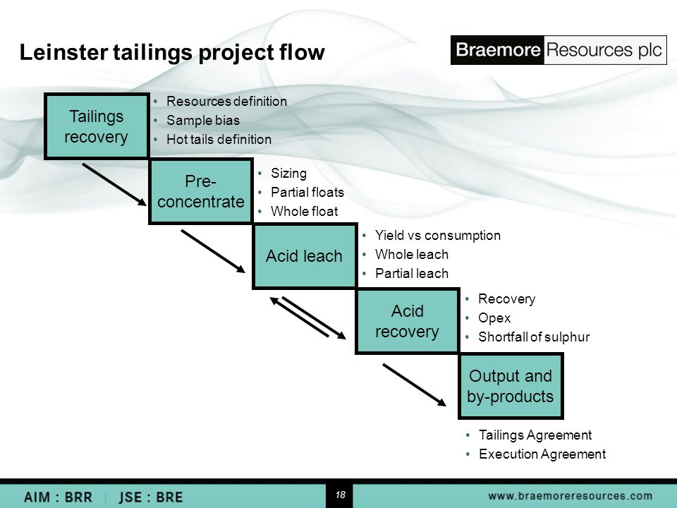18 Leinster tailings project flow Tailings recovery Pre- concentrate Acid leach Acid recovery Output and by-products Resources definition Sample bias Hot tails definition Sizing Partial floats Whole float Yield vs consumption Whole leach Partial leach Recovery Opex Shortfall of sulphur Tailings Agreement Execution Agreement