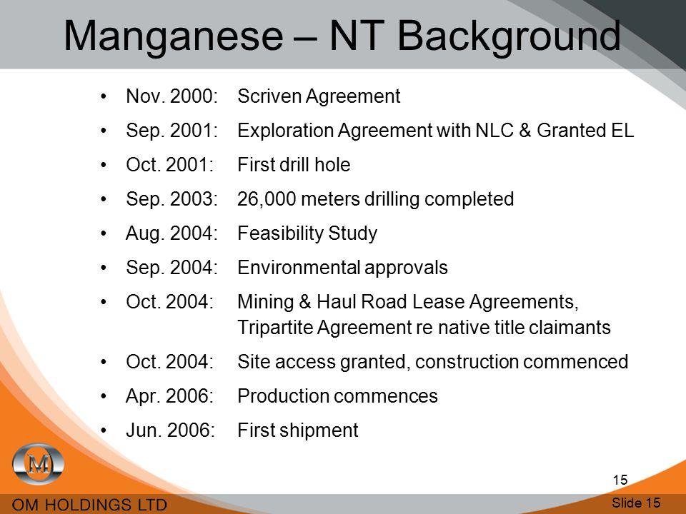 Slide 15 15 Manganese – NT Background Nov. 2000: Scriven Agreement Sep.