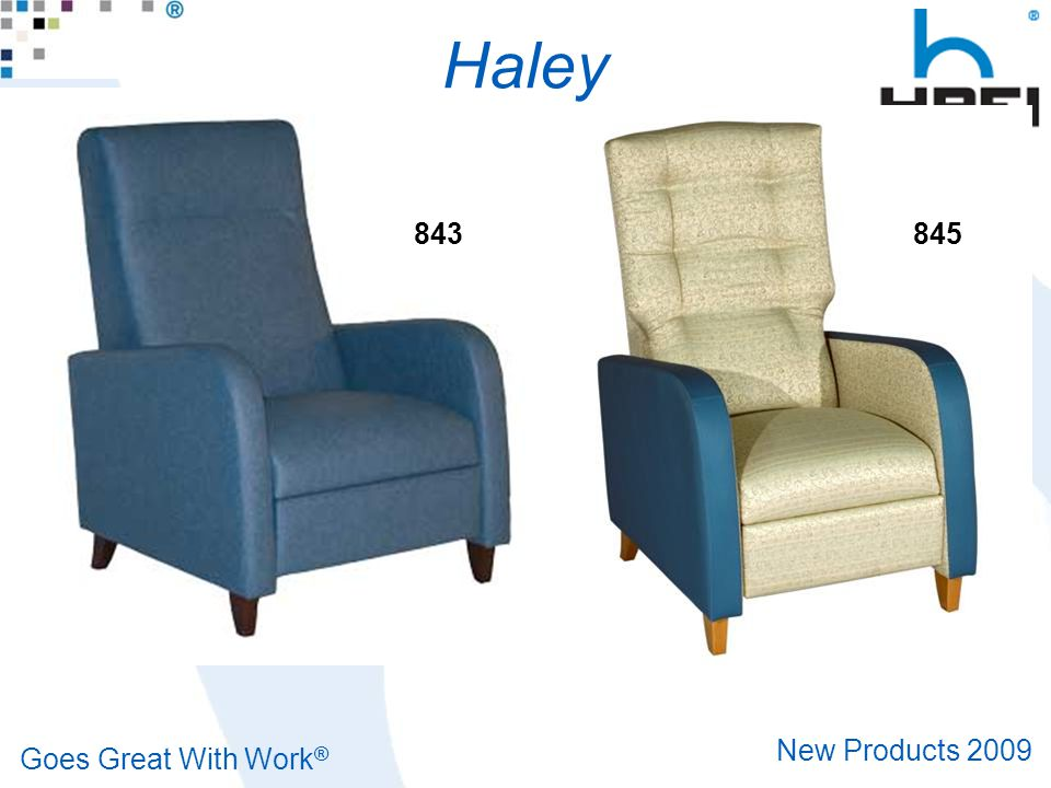 Goes Great With Work ® New Products 2009 Additional Recliners Head Rest Covers 5-Pack $325.00 List – 830HC Hannah Standard Width – 833HC Hannah Bariatric Width – 840HC Haley Standard Width – 843HC Haley Bariatric Width
