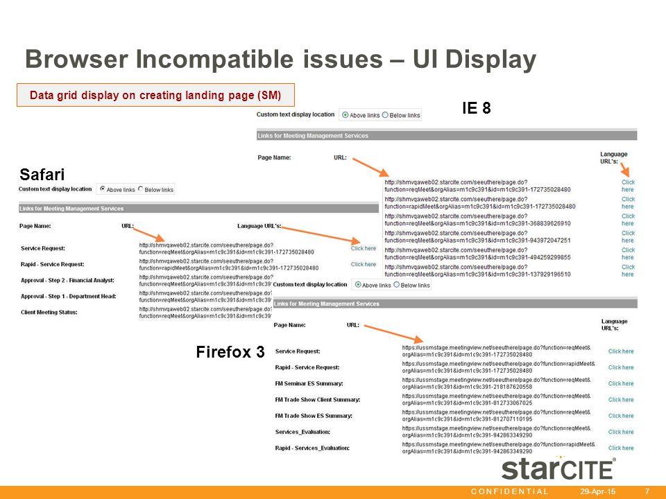 C O N F I D E N T I A L 29-Apr-15 7 Browser Incompatible issues – UI Display Data grid display on creating landing page (SM) IE8: Safari Firefox 3 IE