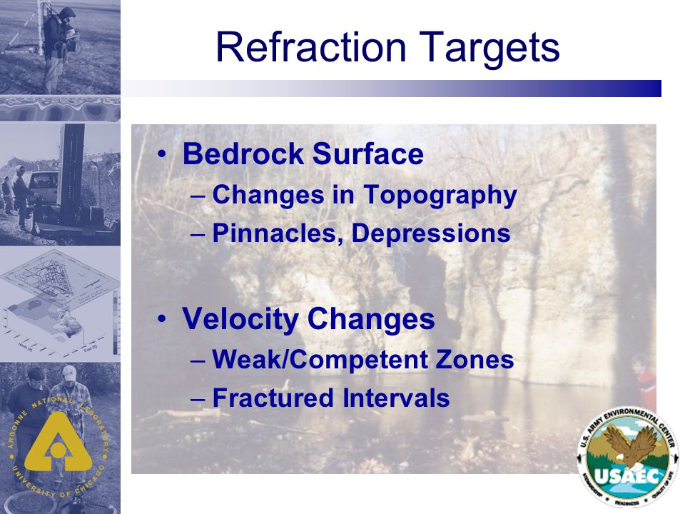 Refraction Targets Bedrock Surface –Changes in Topography –Pinnacles, Depressions Velocity Changes –Weak/Competent Zones –Fractured Intervals