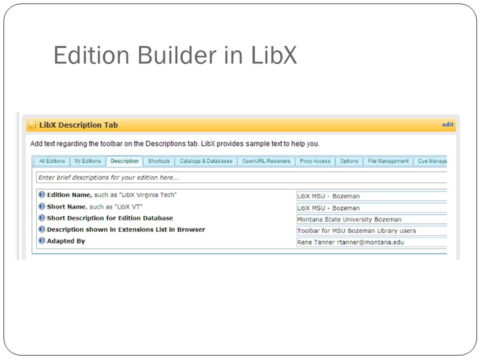Edition Builder in LibX