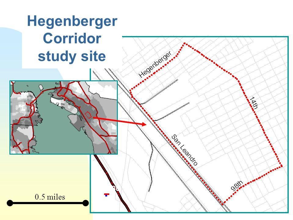 Hegenberger Corridor study site 0.5 miles