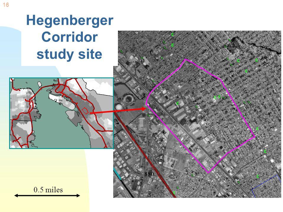 16 Hegenberger Corridor study site 0.5 miles 880