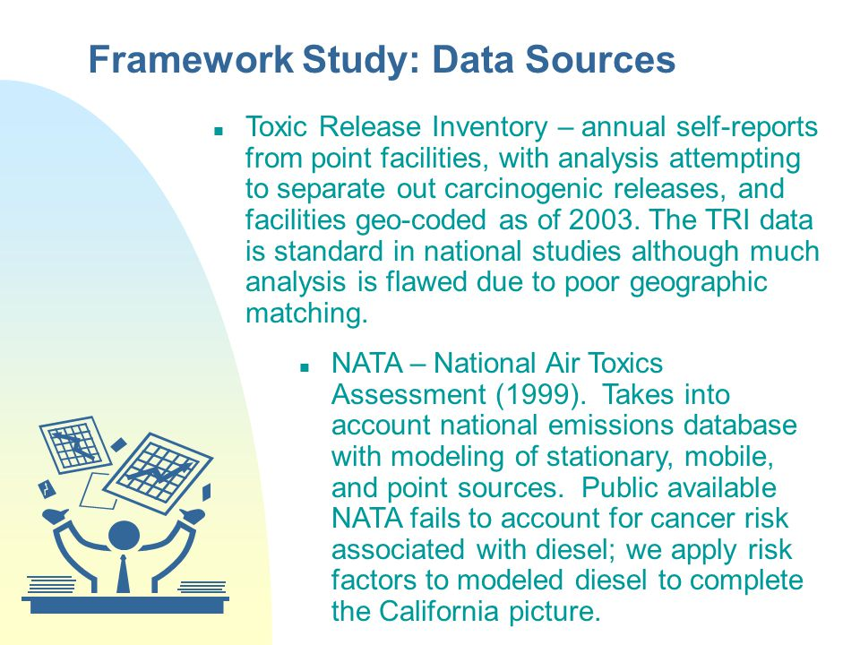Framework Study: Data Sources Toxic Release Inventory – annual self-reports from point facilities, with analysis attempting to separate out carcinogenic releases, and facilities geo-coded as of 2003.