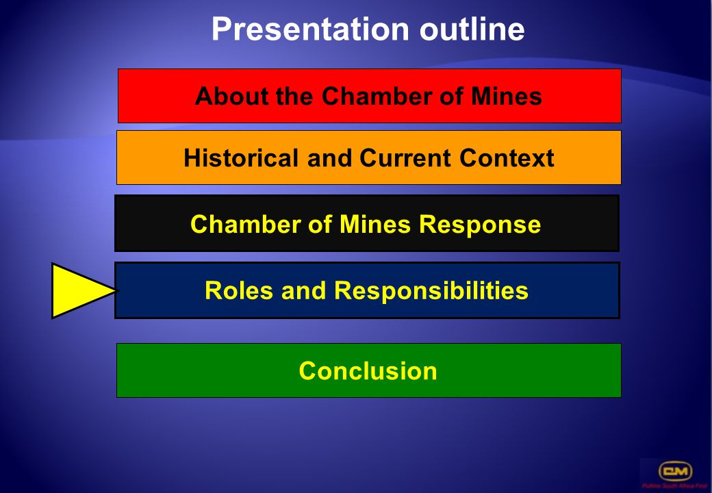 Presentation outline Roles and Responsibilities Conclusion About the Chamber of Mines Chamber of Mines Response Historical and Current Context