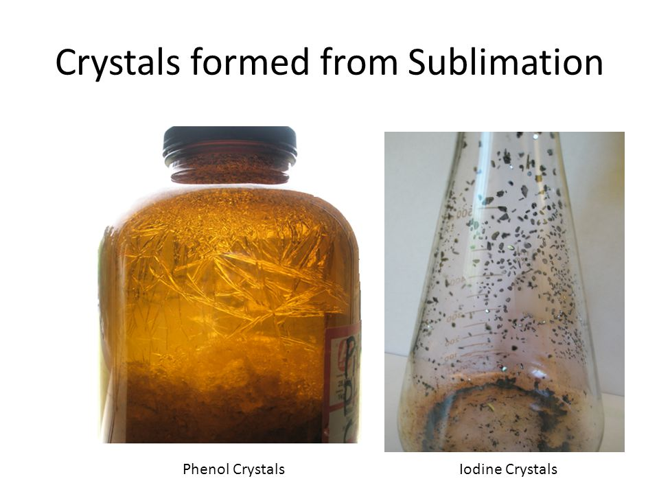 Crystals formed from Sublimation Phenol CrystalsIodine Crystals