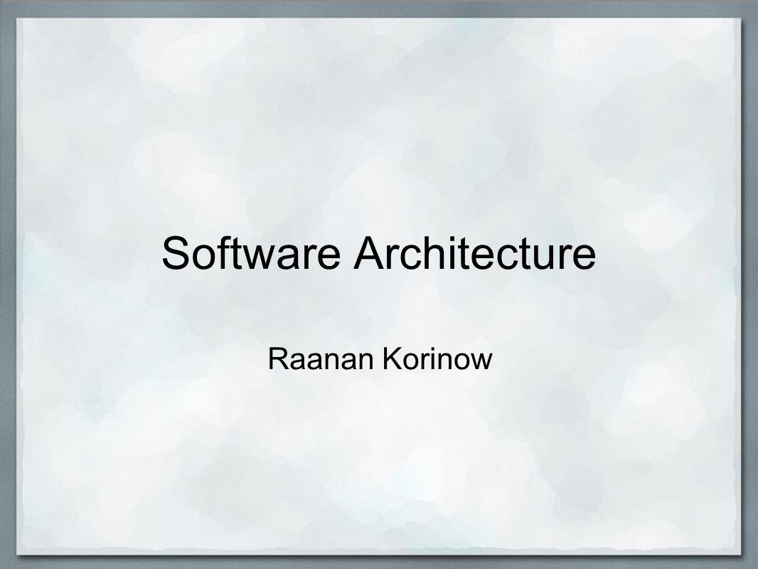 Software Architecture Raanan Korinow