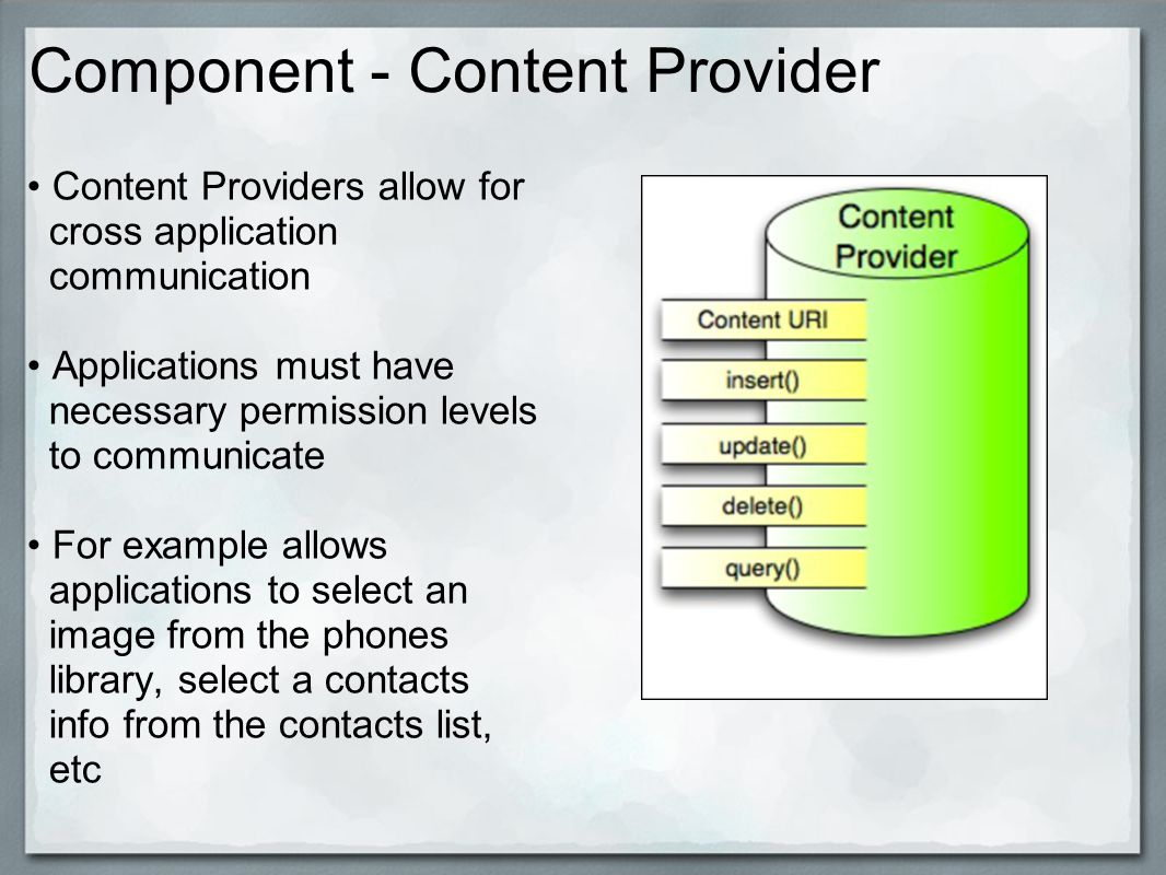 Component - Content Provider Content Providers allow for cross application communication Applications must have necessary permission levels to communicate For example allows applications to select an image from the phones library, select a contacts info from the contacts list, etc