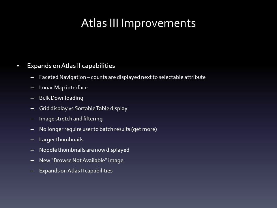 Atlas III – Lighting Geometry Sliders are used for range queries.