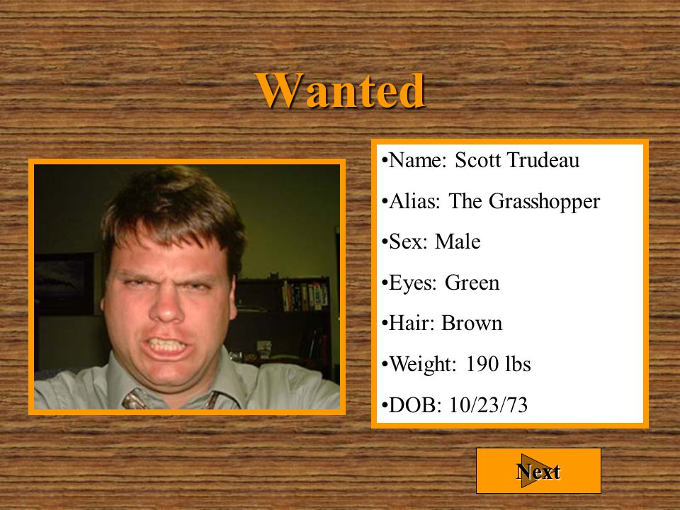 "Wanted For… Chris ""The Mouth"" Harris is wanted for excessive consumption of office equipment. Warning: If given the chance, he will eat your gun! Next"