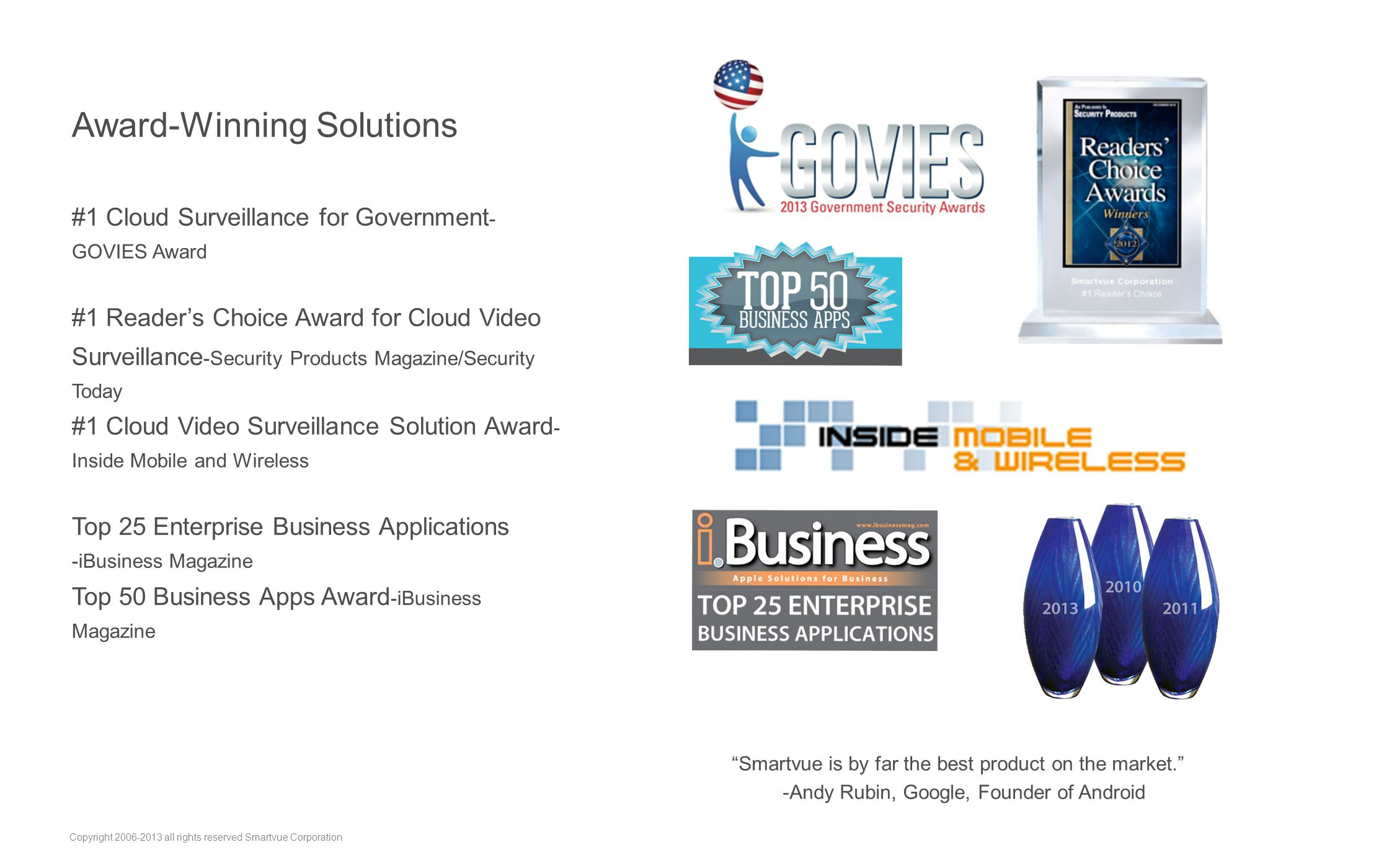 Award-Winning Solutions #1 Cloud Surveillance for Government - GOVIES Award #1 Reader's Choice Award for Cloud Video Surveillance -Security Products M