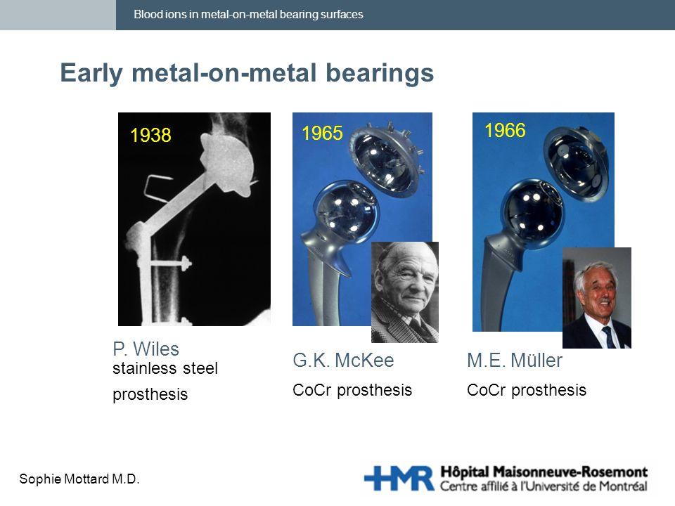 Blood ions in metal-on-metal bearing surfaces Sophie Mottard M.D. Early metal-on-metal bearings P. Wiles stainless steel prosthesis 1965 G.K. McKee Co