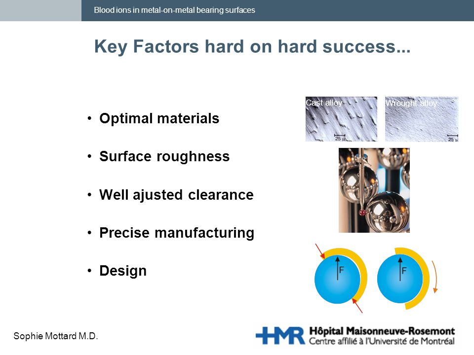 Blood ions in metal-on-metal bearing surfaces Sophie Mottard M.D. Key Factors hard on hard success... Optimal materials Surface roughness Well ajusted