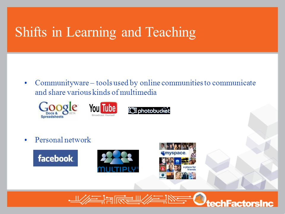 Shifts in Learning and Teaching Communityware – tools used by online communities to communicate and share various kinds of multimedia Personal network