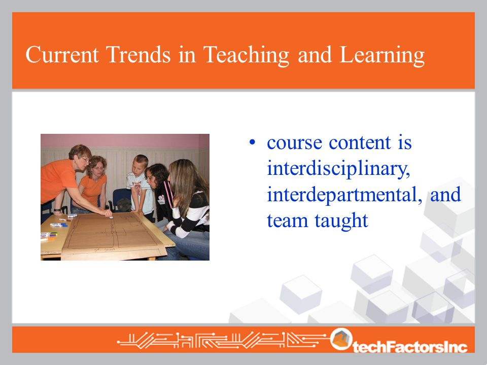Current Trends in Teaching and Learning course content is interdisciplinary, interdepartmental, and team taught