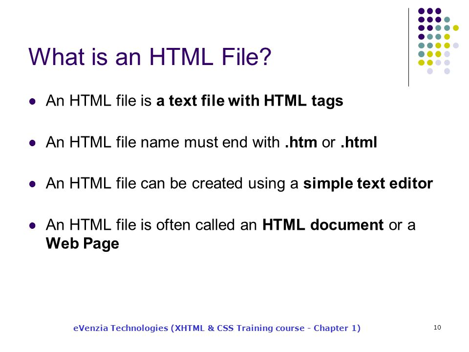 eVenzia Technologies (XHTML & CSS Training course - Chapter 1) 10 What is an HTML File.