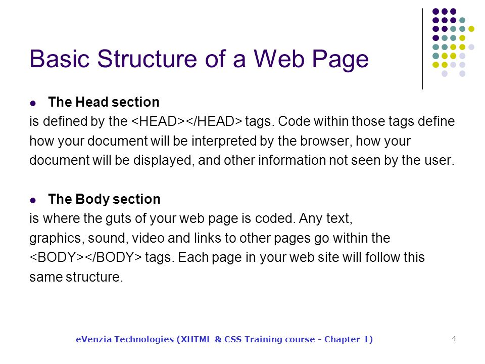 eVenzia Technologies (XHTML & CSS Training course - Chapter 1) 4 Basic Structure of a Web Page The Head section is defined by the tags.