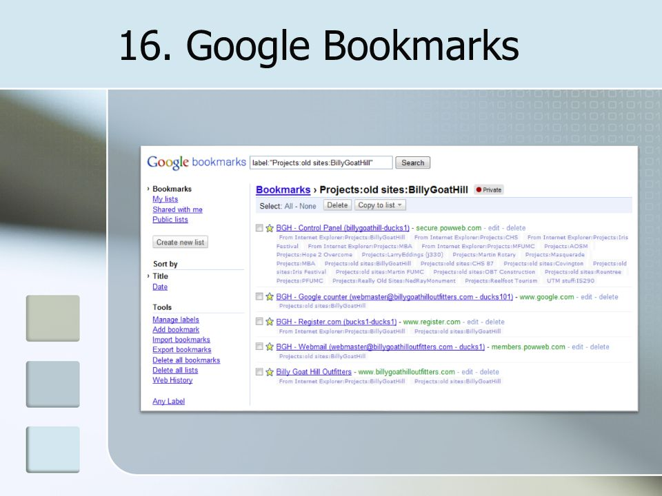 16. Google Bookmarks