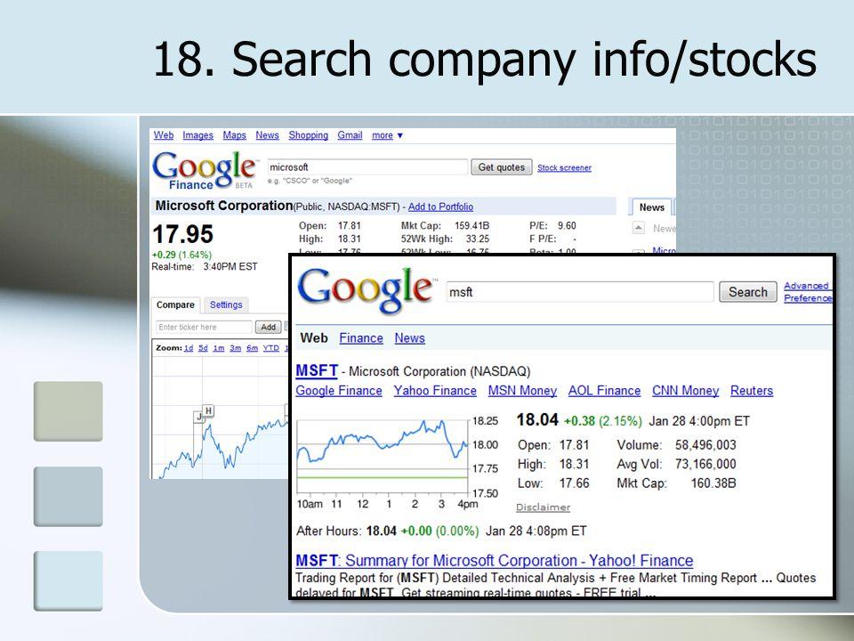 18. Search company info/stocks