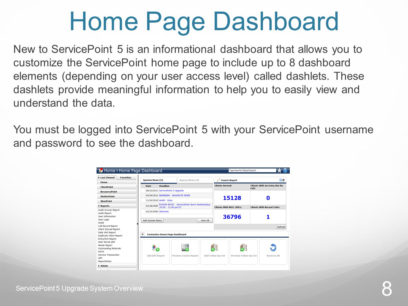 Home Page Dashboard New to ServicePoint 5 is an informational dashboard that allows you to customize the ServicePoint home page to include up to 8 dashboard elements (depending on your user access level) called dashlets.