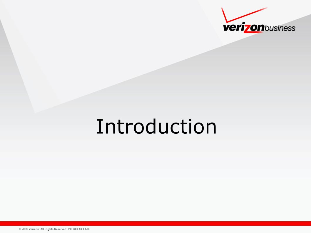 © 2009 Verizon. All Rights Reserved. PTEXXXXX XX/09 Introduction