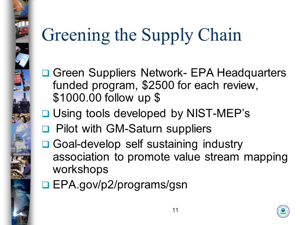 11 Greening the Supply Chain  Green Suppliers Network- EPA Headquarters funded program, $2500 for each review, $1000.00 follow up $  Using tools developed by NIST-MEP's  Pilot with GM-Saturn suppliers  Goal-develop self sustaining industry association to promote value stream mapping workshops  EPA.gov/p2/programs/gsn