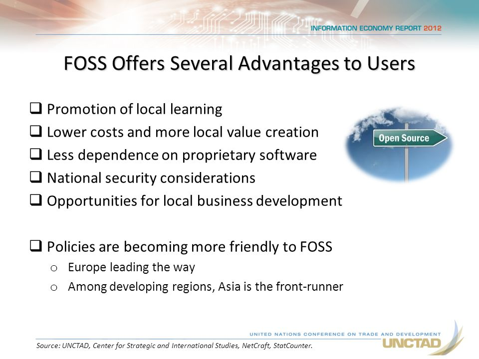 FOSS Offers Several Advantages to Users  Promotion of local learning  Lower costs and more local value creation  Less dependence on proprietary software  National security considerations  Opportunities for local business development  Policies are becoming more friendly to FOSS o Europe leading the way o Among developing regions, Asia is the front-runner Source: UNCTAD, Center for Strategic and International Studies, NetCraft, StatCounter.
