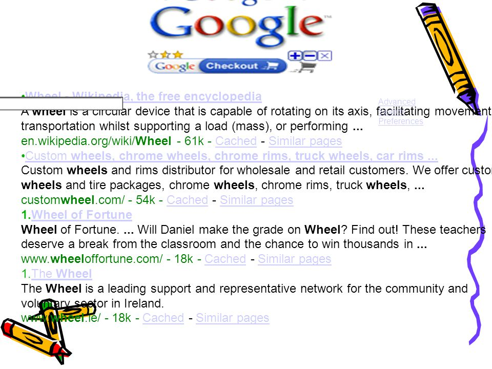 Google Wheel - Wikipedia, the free encyclopedia A wheel is a circular device that is capable of rotating on its axis, facilitating movement or transportation whilst supporting a load (mass), or performing...