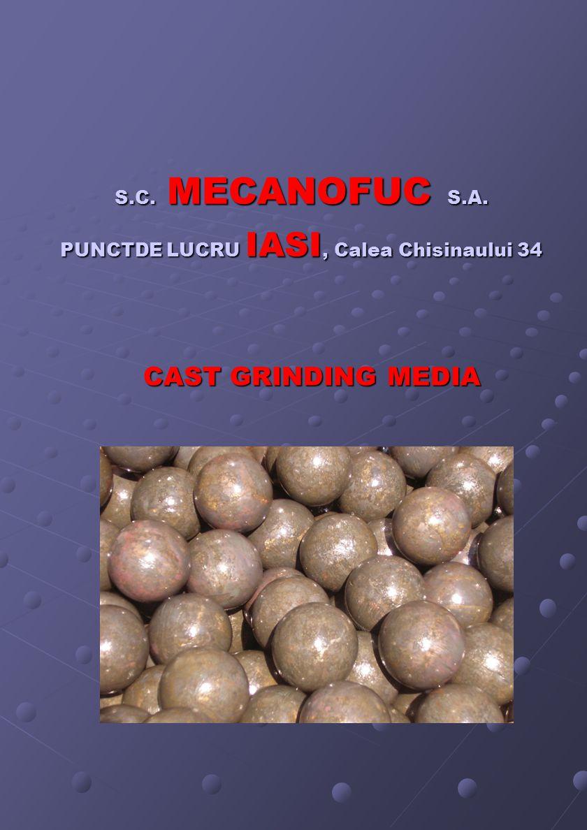 S.C. MECANOFUC S.A. PUNCTDE LUCRU IASI, Calea Chisinaului 34 CAST GRINDING MEDIA