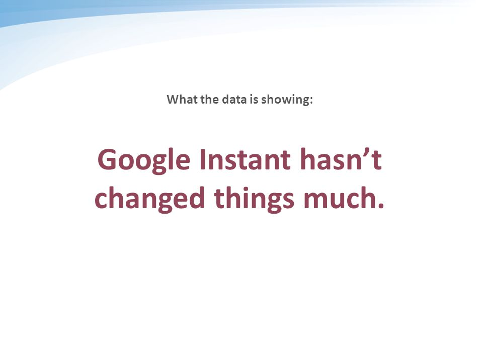 What the data is showing: Google Instant hasn't changed things much.