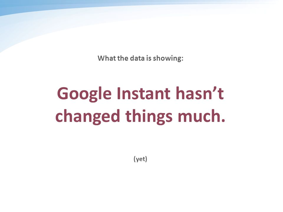 What the data is showing: Google Instant hasn't changed things much. (yet)