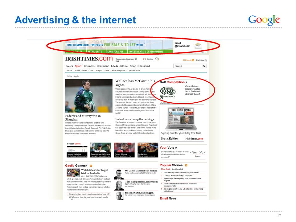 Advertising & the internet 17