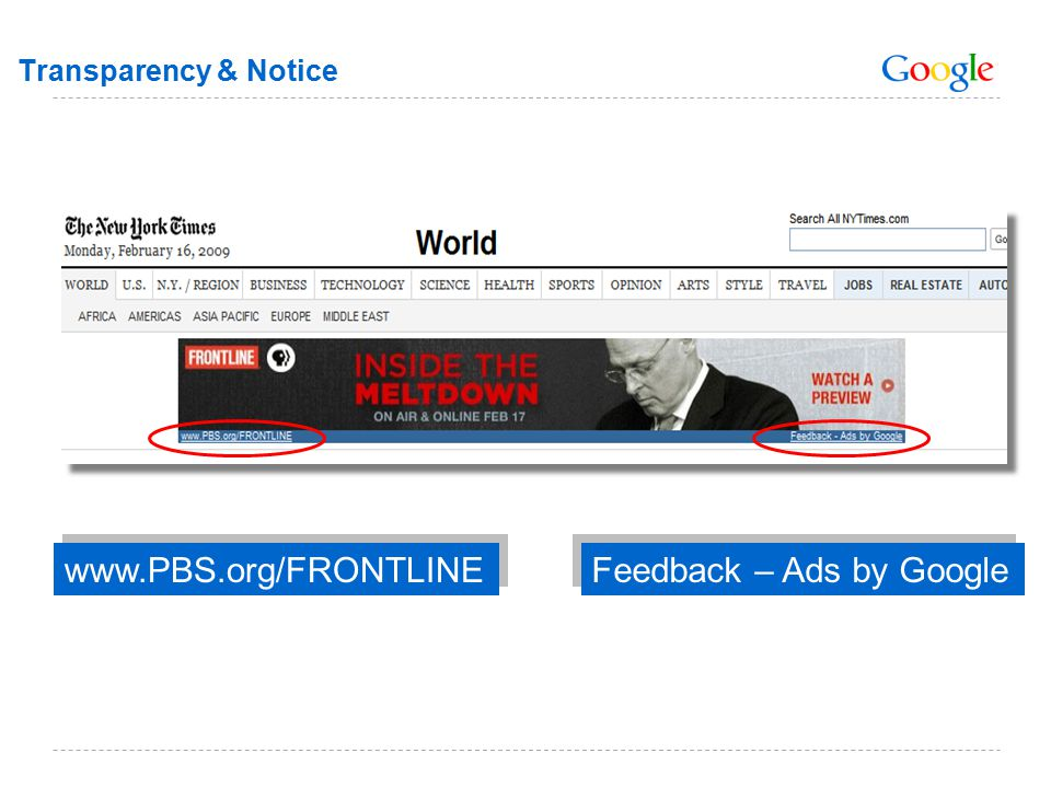 Transparency & Notice Feedback – Ads by Google www.PBS.org/FRONTLINE