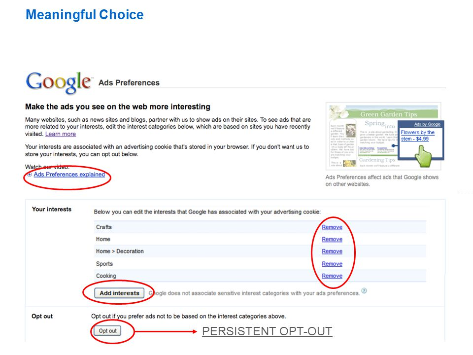 Meaningful Choice PERSISTENT OPT-OUT