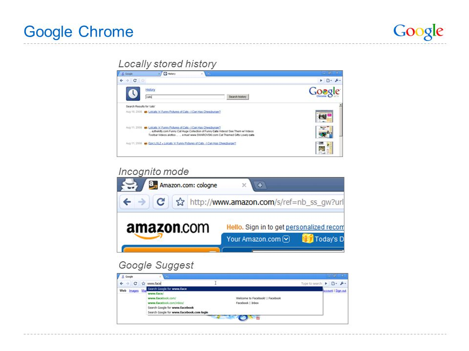 Google Chrome Locally stored history Incognito mode Google Suggest