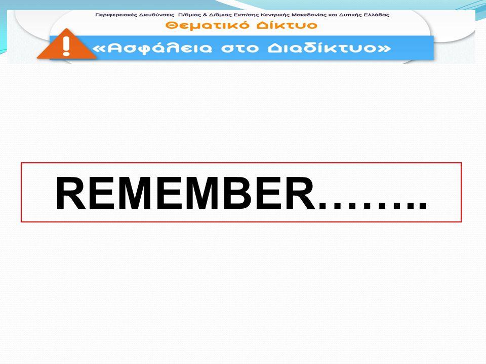 REMEMBER……..