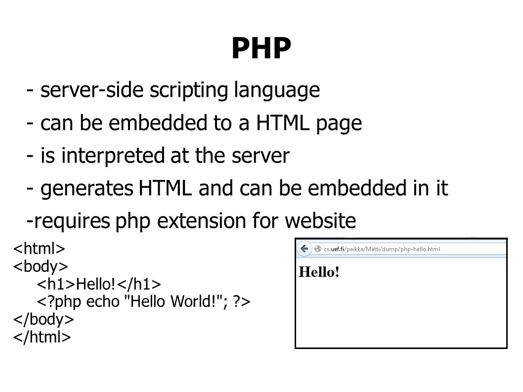 Submit data from HTML to PHP POST is sent in the HTTP message body POST /mopsi/register.php HTTP/1.1 Host: cs.uef.fi uName=matti&pWord=asd#22d GET is sent in the URL of a GET request /mopsi/register.php?uName=matti&pWord=asd#22d