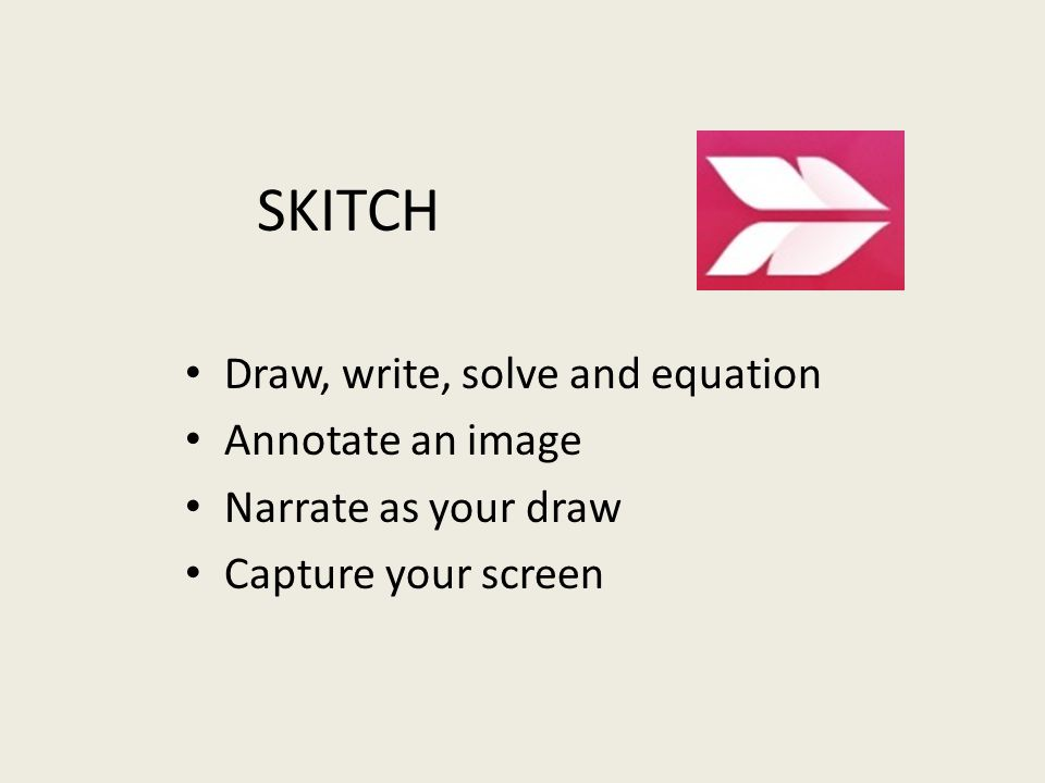 Draw, write, solve and equation Annotate an image Narrate as your draw Capture your screen SKITCH