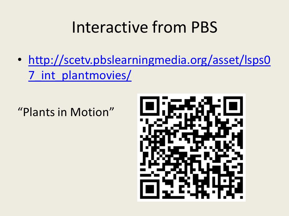 Interactive from PBS http://scetv.pbslearningmedia.org/asset/lsps0 7_int_plantmovies/ http://scetv.pbslearningmedia.org/asset/lsps0 7_int_plantmovies/