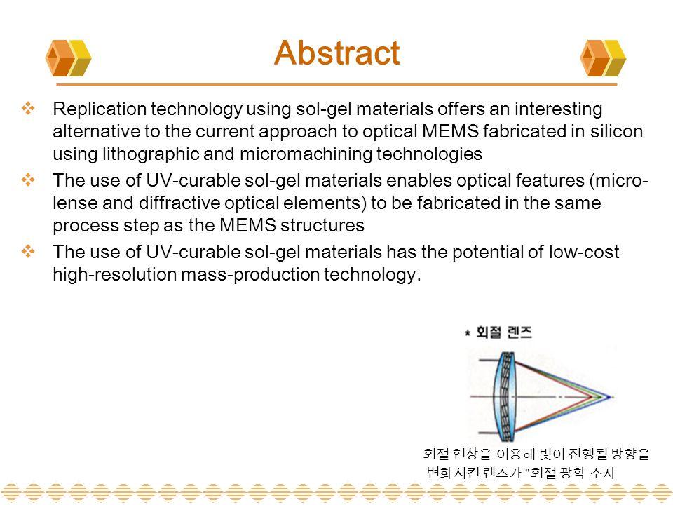 introduction  현재 대다수 광학 MEMS 는 반도체 산업에서부터의 lithographic ( 석판 인쇄술 ) 이 나 etching 기술을 사용하여 실리콘 기판 재료에서 제조되고 있다.