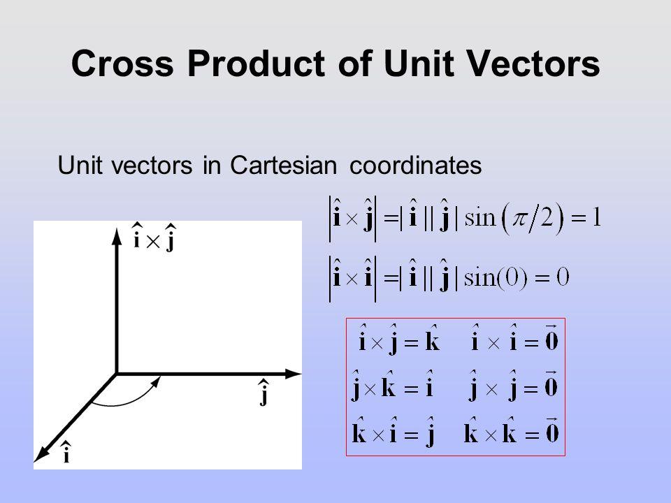 Cross Product of Unit Vectors Unit vectors in Cartesian coordinates