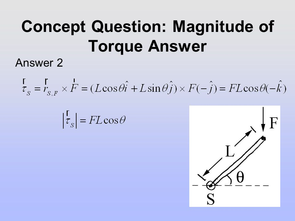 Concept Question: Magnitude of Torque Answer Answer 2