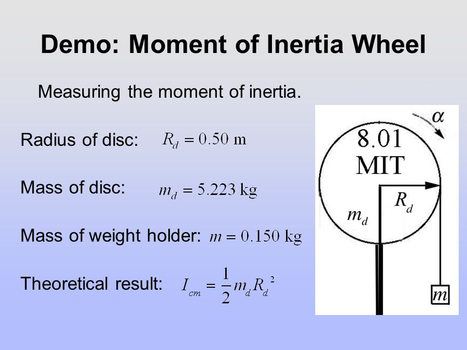Demo: Moment of Inertia Wheel Measuring the moment of inertia. Radius of disc: Mass of disc: Mass of weight holder: Theoretical result: